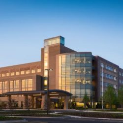 Centegra Health- new Huntley Hospital exterior at dusk