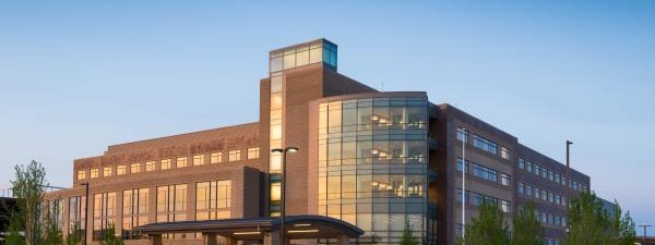 Centegra Health- new Huntley Hospital exterior at dusk