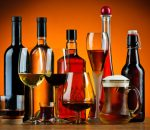 Bottles and glasses of alcohol drinks